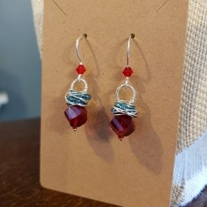 Artisan Red, White, and Blue Earrings